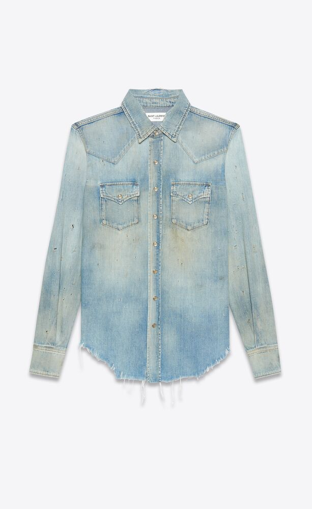 destroyed classic western shirt in dirty vintage blue denim