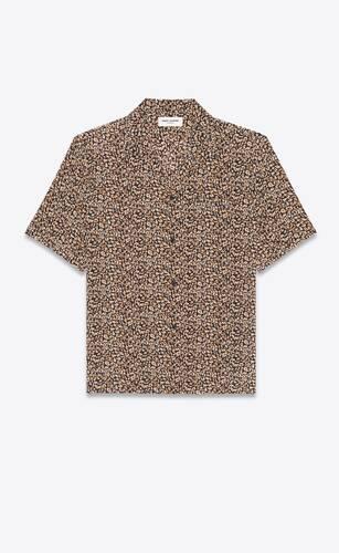 shark-collar shirt in micro leopard silk crepe de chine