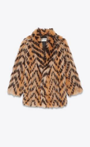 manteau long à chevrons en shearling