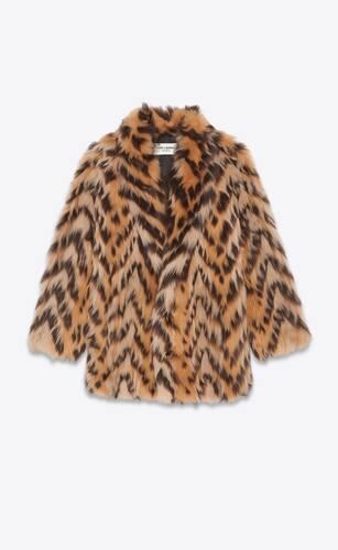abrigo largo de piel de borrego con motivo de espiga