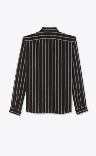 triple-stripe shirt in shiny and matte silk