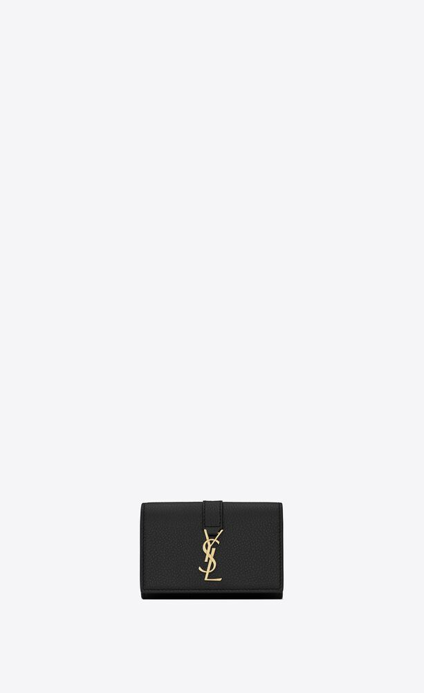 ysl line key case in grained leather