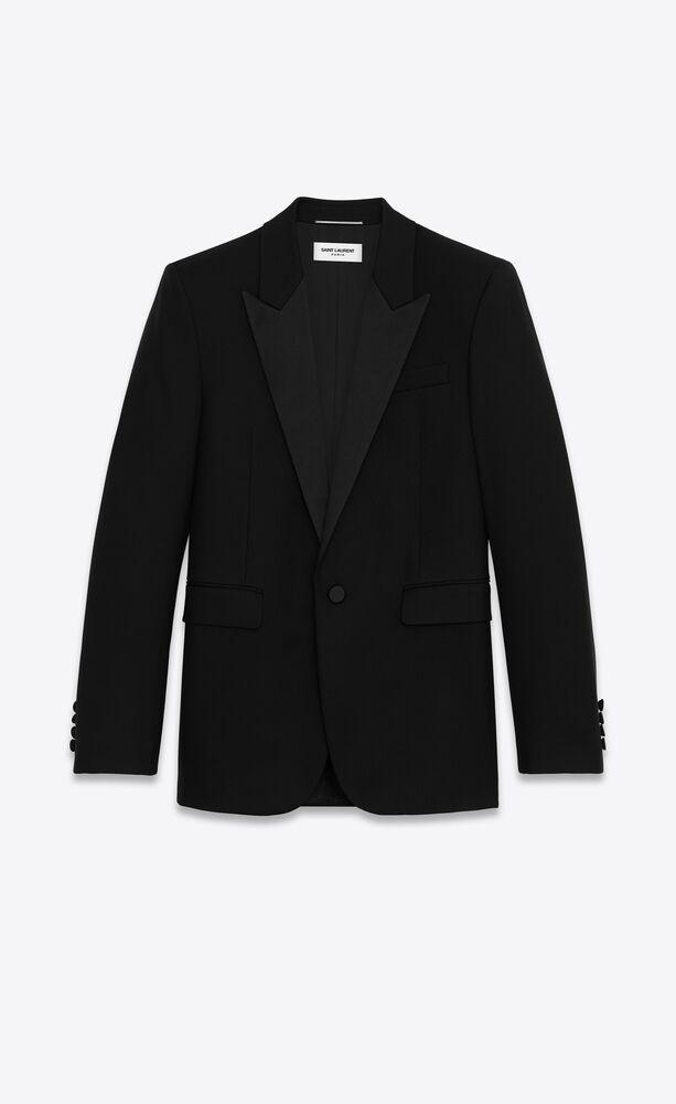 square-cut long tuxedo jacket in wool twill