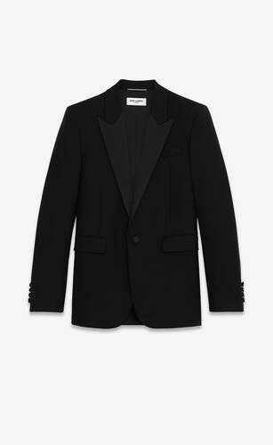 square-cut long tuxedo jacket in wool twill