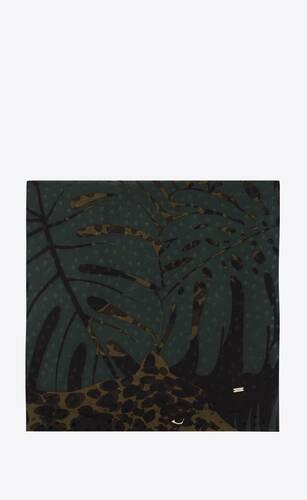 large square scarf in nocturnal jungle leopard silk jacquard