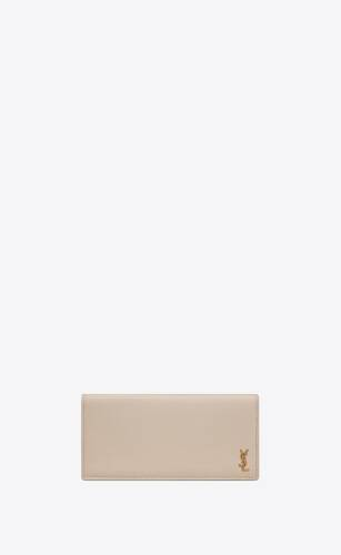 tiny monogram continental wallet in grained leather