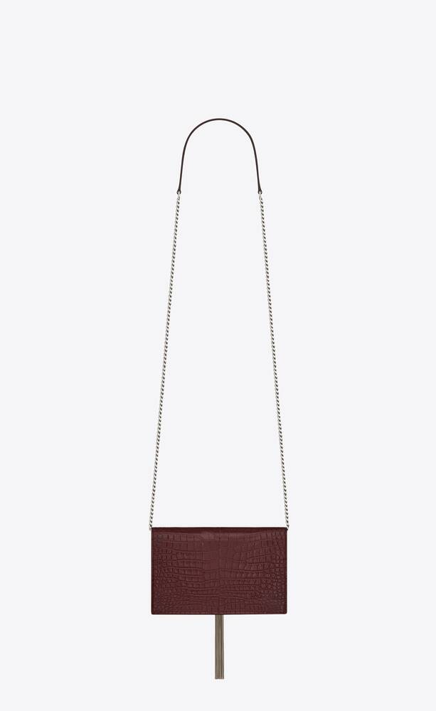 kate chain and tassel wallet in shiny crocodile-embossed leather
