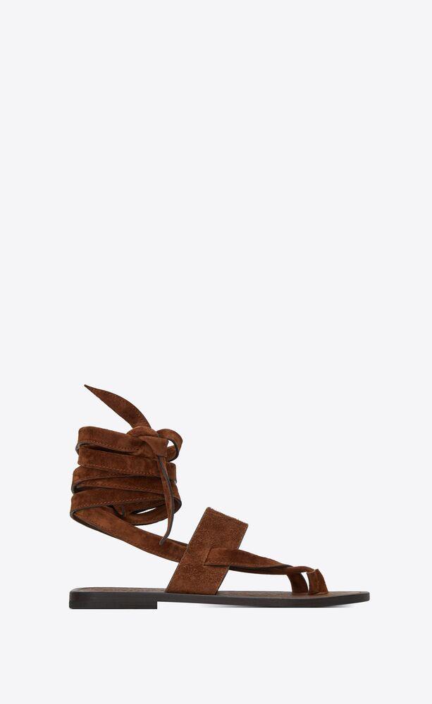 flache culver sandalen aus veloursleder