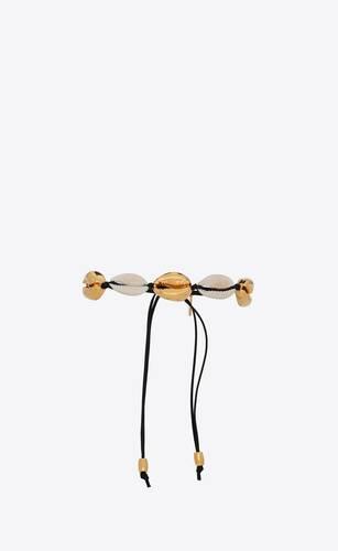 bracelet coquillages cauris naturels en cuir et métal