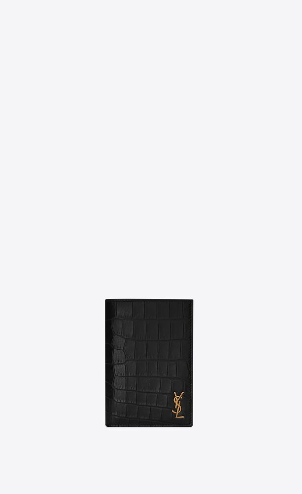 tiny monogram credit card wallet in crocodile embossed matte leather