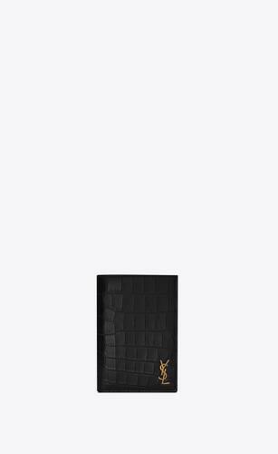 portefeuille mini monogramme en cuir mat embossé façon crocodile