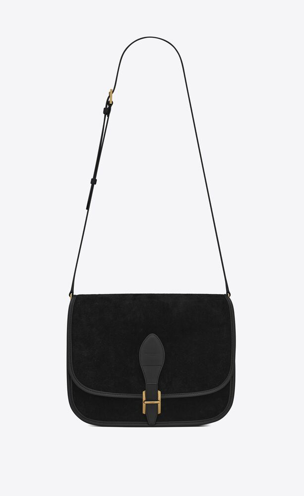 medium francoise satchel in suede and goya leather