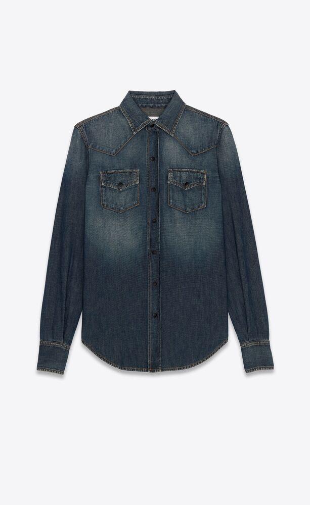 western shirt in deep vintage blue denim