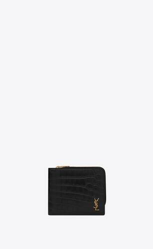 tiny monogram east/west zip-around wallet in crocodile-embossed matte leather