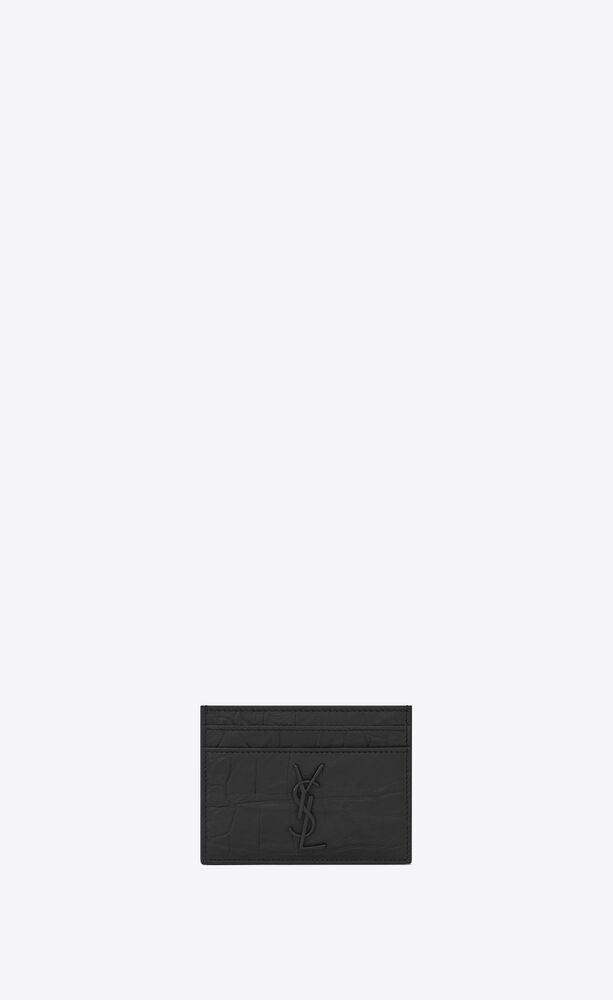 monogram card case in crocodile embossed leather