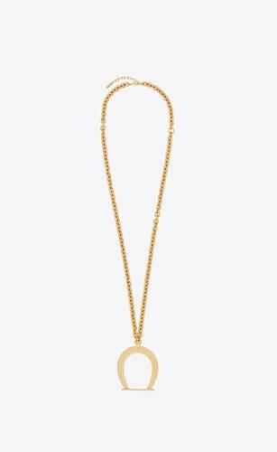 collier à pendentif étrier oversize en métal