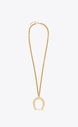 oversized stirrup pendant necklace in metal