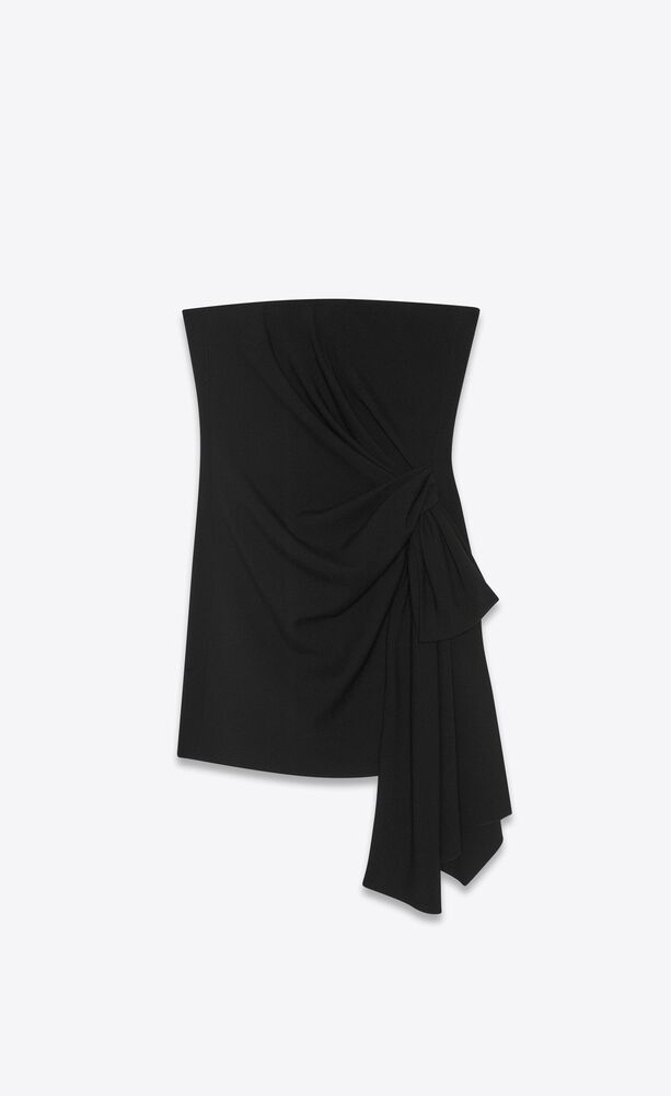 strapless hip-knot mini dress in sablé saint laurent