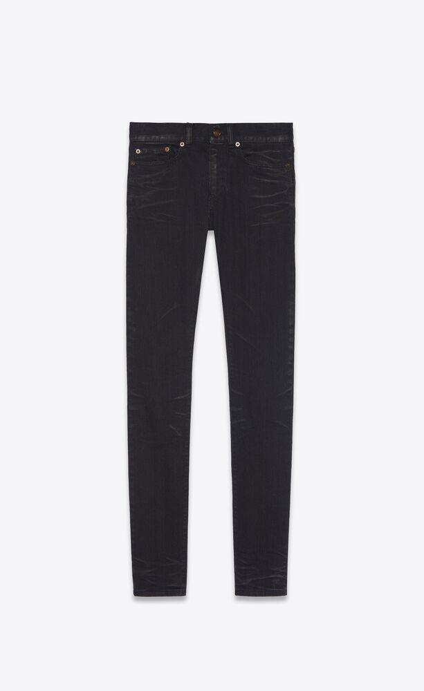 skinny-fit jeans in lightly coated black denim