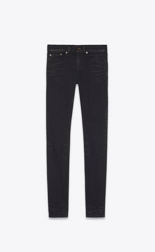 skinny-fit jeans in lightly coated black denim