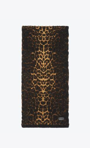 knitted scarf in lamé leopard-print wool and mohair