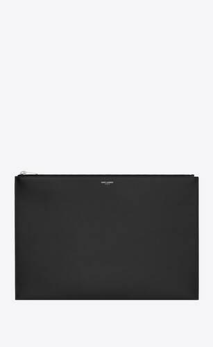 クラシック サンローラン ジップタブレットスリーブ (ブラック/グレインプードルレザー)