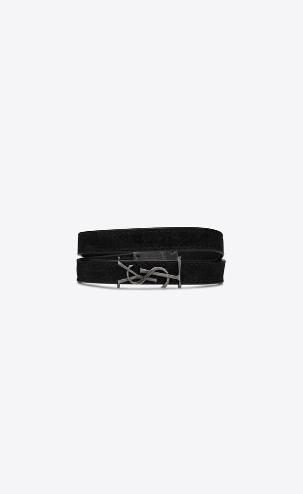 opyum double-wrap bracelet in nubuck and metal