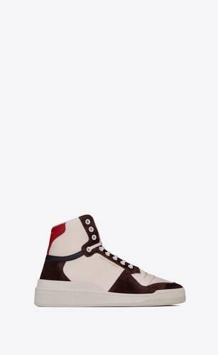 sl24 sneakers mi-hautes en cuir et suède