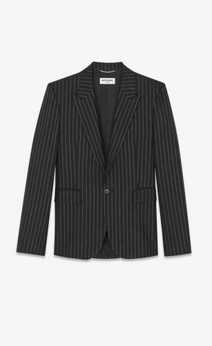 veste de tailleur en laine à rayures tennis lamées