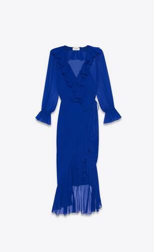 ruffled wrap dress in silk crepe muslin