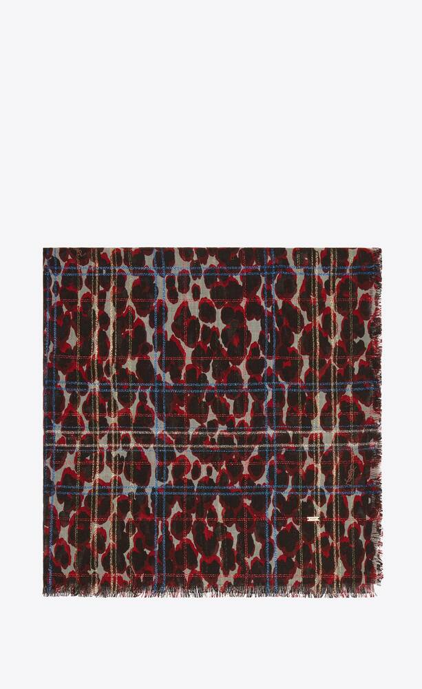 leopard-print lamé check large square scarf in wool and silk jacquard