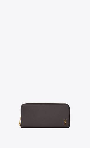 tiny monogram zip-around wallet in grained leather