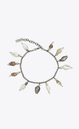armband mit muschelanhänger aus metall, muscheln und holz