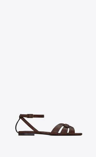 tribute flat sandals in crocodile-embossed shiny leather