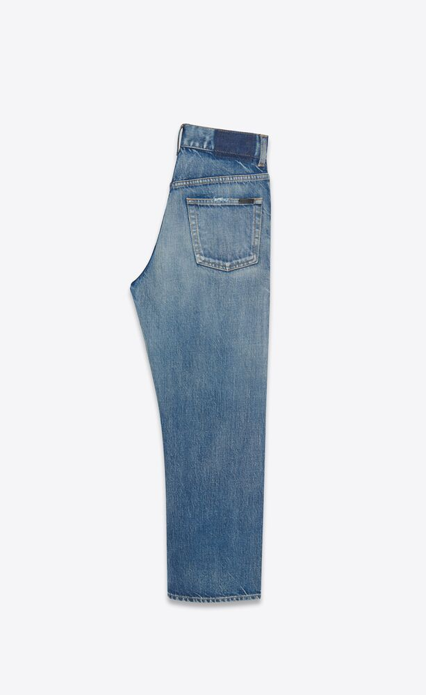 cropped straight-fit jeans in sandy winter blue denim