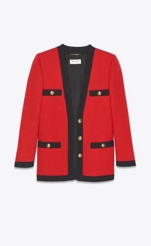 long cardigan jacket in bouclé tweed