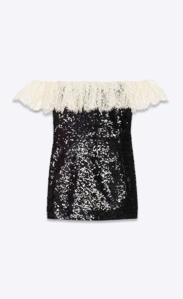 off-the-shoulder sequin mini dress with lace