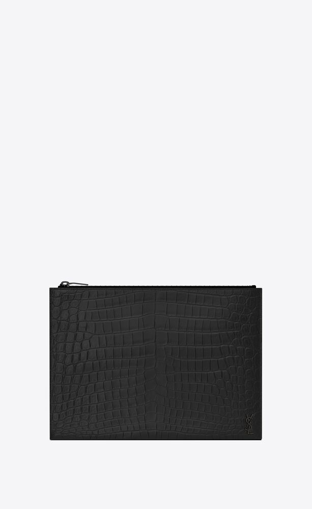 tiny monogram zipped tablet holder in crocodile-embossed leather