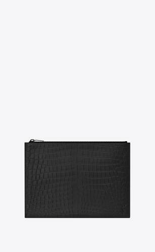 tiny monogram zippered tablet holder in crocodile-embossed leather