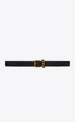 chain-loop narrow belt with square buckle in lacquered python