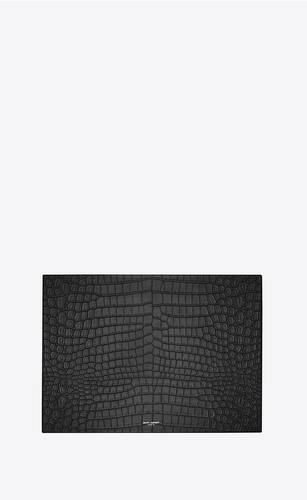 boîte en cuir embossé crocodile medium