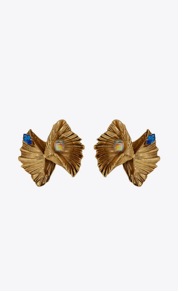 héritage bow shell earrings in metal and crystal