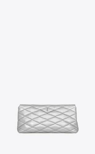 sade puffer envelope clutch in crinkled lamé leather