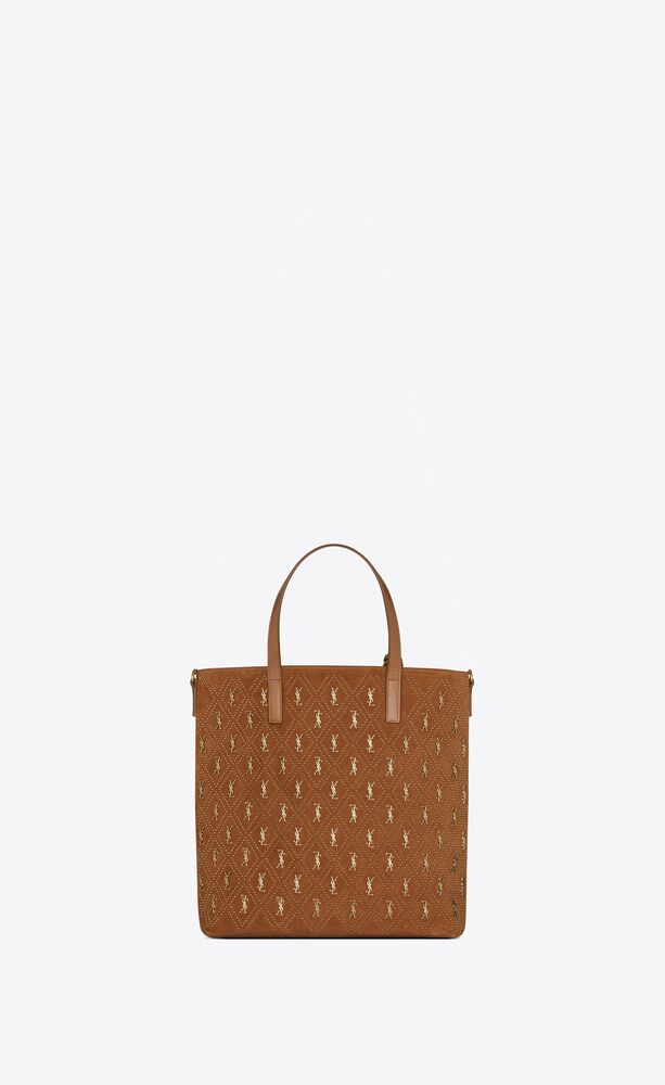 monogram saint laurent n/s toy-shopper aus wildleder mit nieten