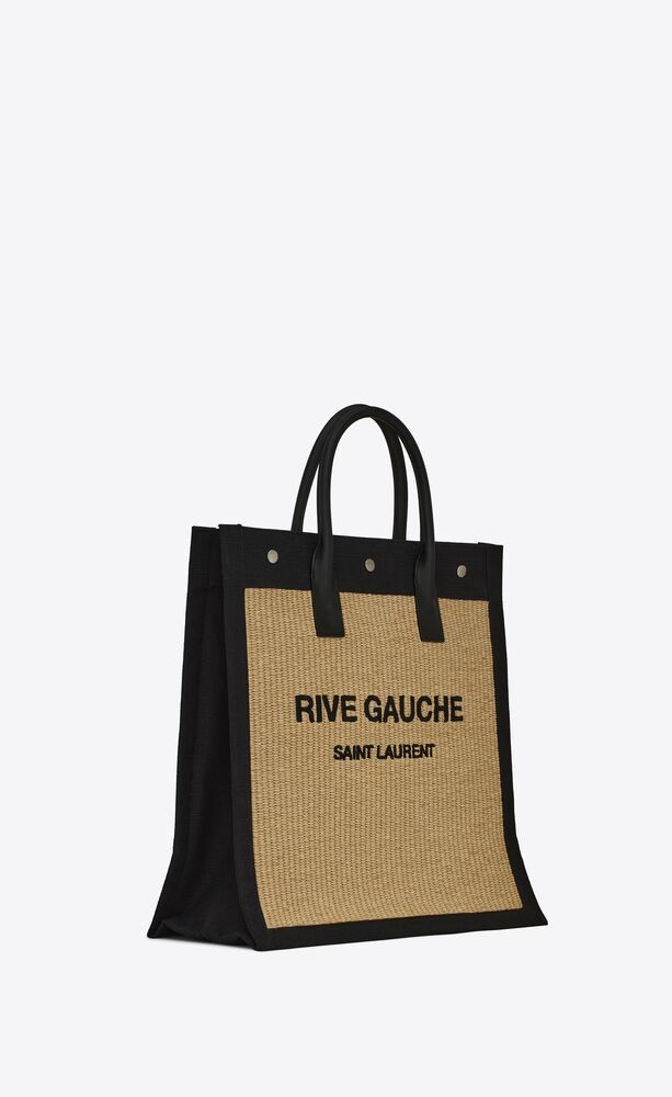bolso tote rive gauche north/south de rafia bordada y piel