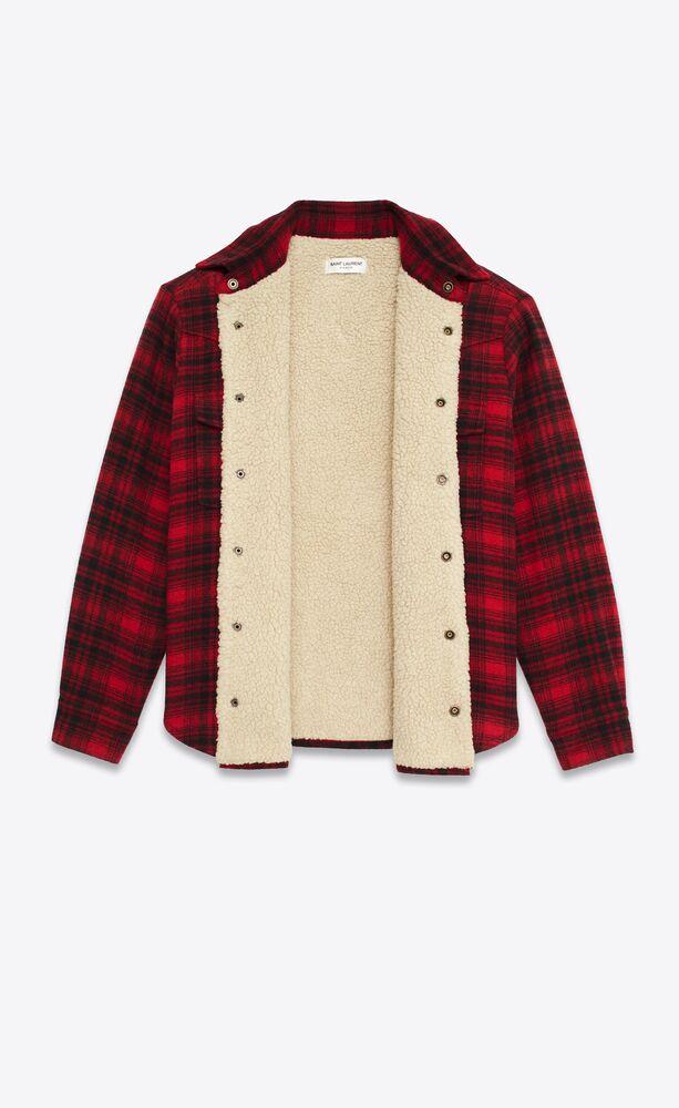 surchemise western oversize en laine à carreaux et shearling
