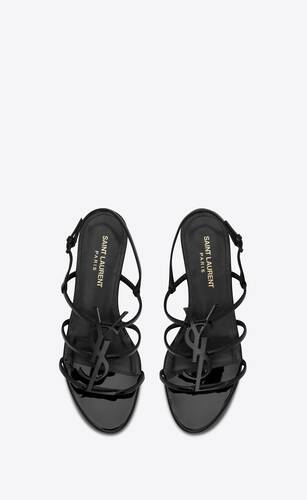 cassandra open sandals with black monogram in patent leather