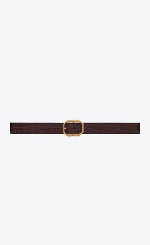 frame buckle belt in leather embossed with a large crocodile print