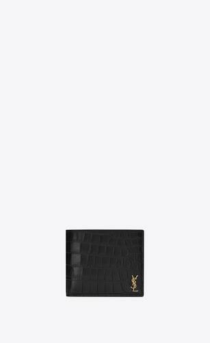 tiny monogram portefeuille east/west avec porte-monnaie en cuir mat embossé crocodile