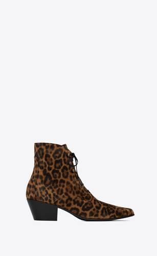 susan booties in leopard-print suede